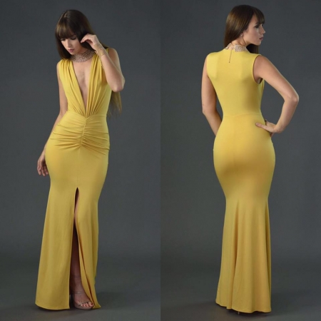 Crepe Split Front Maxi Dress