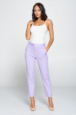 LAVENDER SOLID HIGH WAIST PANTS