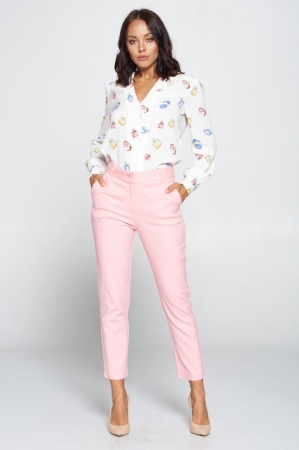 PINK SOLID HIGH WAIST PANTS