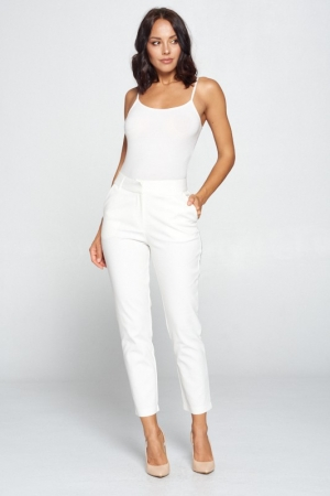 WHITE SOLID HIGH WAIST PANTS
