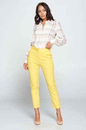 YELLOW SOLID HIGH WAIST PANTS