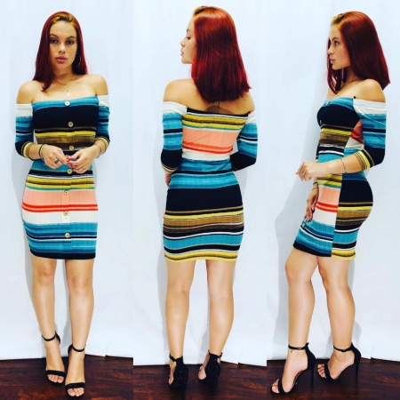 Multi-color Off Shoulder Dress