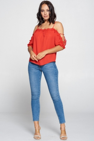 RED WOOL DOBBY TOP