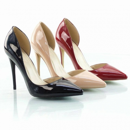 Shiny Formal Pointed Toe Heel - Available in Red & Nude