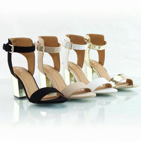 Golden Block Heel - Available in White & Black