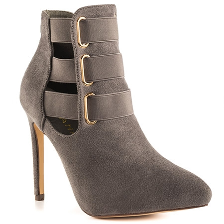 Suede Strapped Heel - Available in Black & Grey