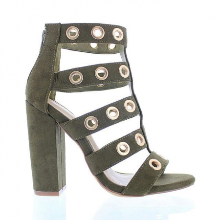 Military Inspired Heel - Available in Olive
