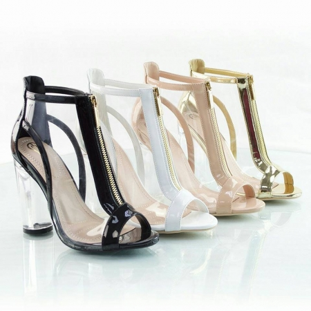 Clear Open Toe Golden Zipper Heel - Available in White & Black