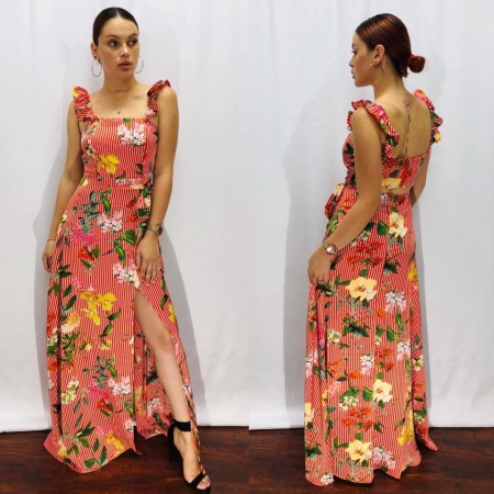 Floral Red Long Dress