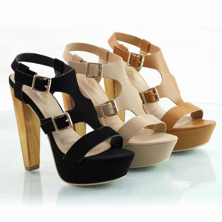 Strappy Velvet Wooden Heel - Available in Black & Nude