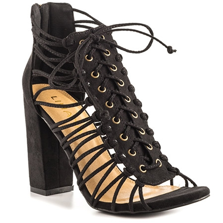 Suede Laced Up Heel - Black - Also Available in Olive & Tan