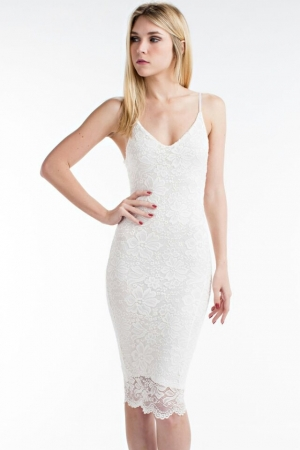 Tight Lace Dress - White