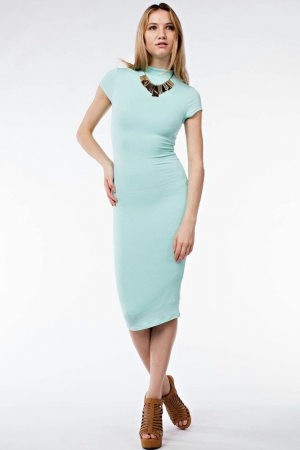 Tight Turtle-Neck Formal Dress - Available in Light Blue & Pink