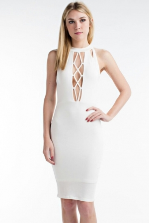 Open-Front Tight Dress - Available in White & Red
