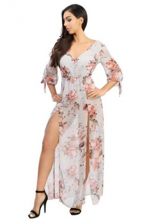 Floral High Slit Dress - Pink