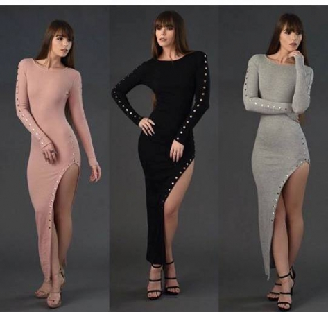 Studded High Slit Dress - Available in Pink, Grey & Black
