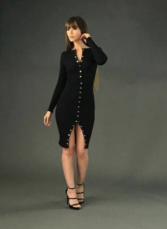 Tight Military Inspired Dress - Black