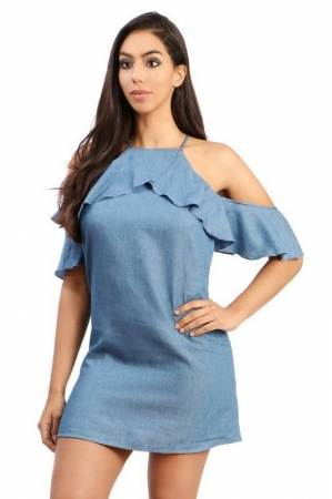 Off The Shoulder Dress - Light Wash