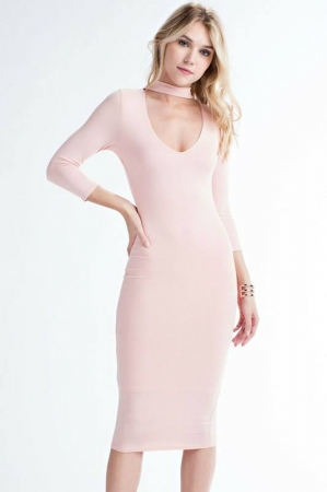 Formal Cut Out Dress - Pink