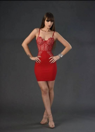 Lingerie Inspired Tight Dress - Red