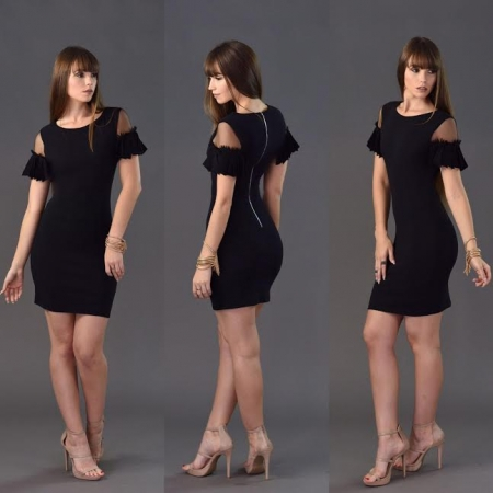 Hollow Out Short Sleeve Dress Black